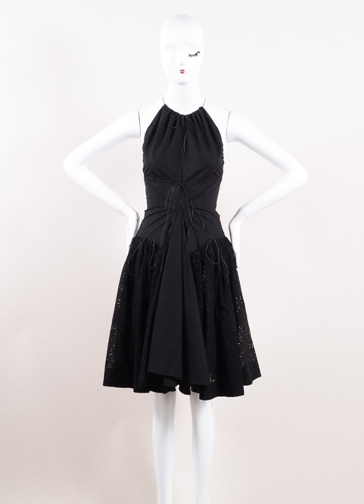 Alaia Black Lace-Up Sleeveless Dress Front