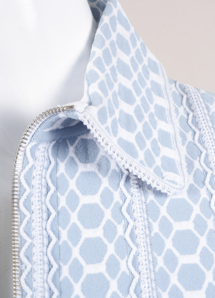 Alaia Light Blue and White Stretchy Textured Knit Zip Jacket Detail