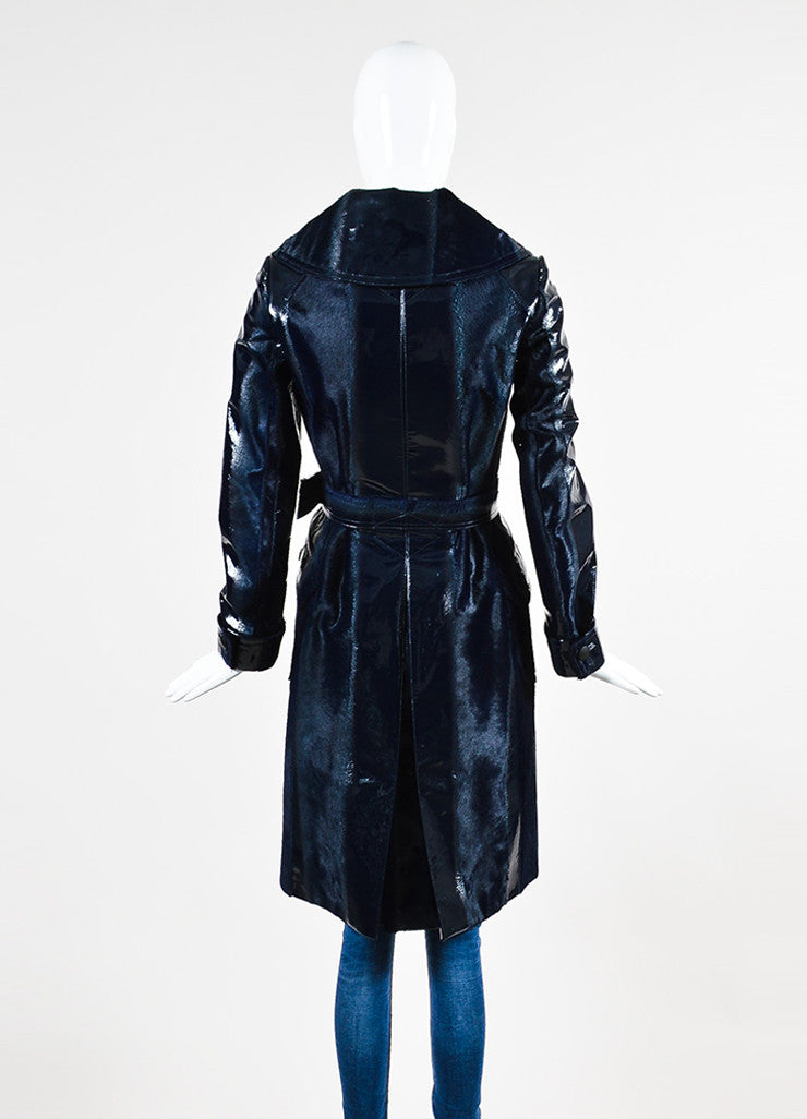 Navy Blue Alaia Patent Leather and Pony Hair Burnout Trench Coat Backview