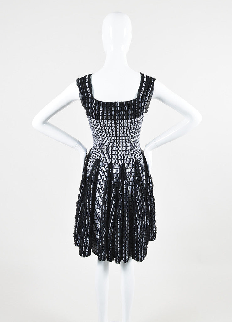 Black and White Alaia Circle Knit 3D Ruffle Sleeveless Flare Dress Backview