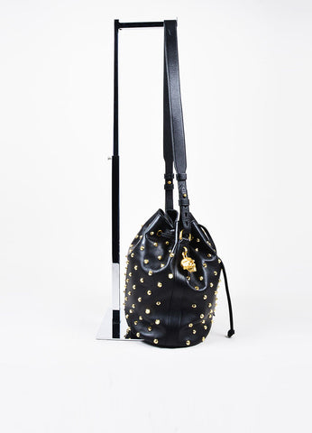 Alexander McQueen Black Leather Gold Toned Studded Skull Padlock Bucket Bag Sideview