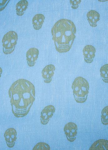 Blue and Green Alexander McQueen Silk Skull Print Scarf Detail 1