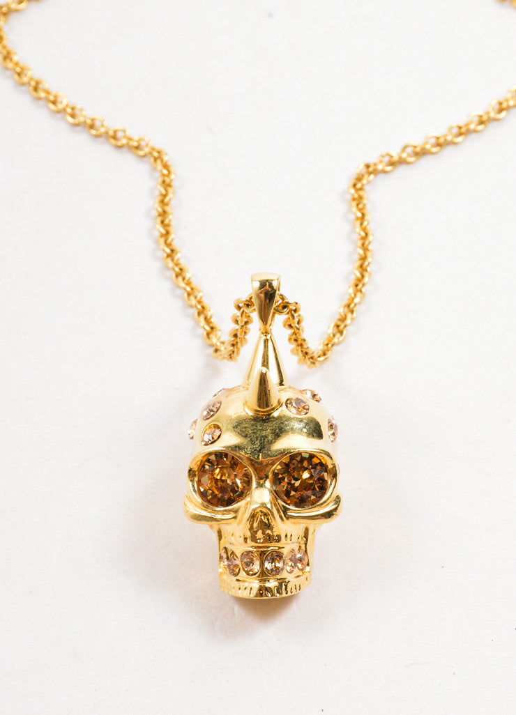 Alexander McQueen Gold Toned Chain Link Rhinestone Skull Pendant Necklace Detail