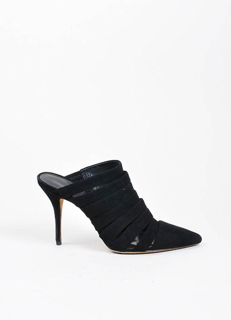 Black Suede Alexander Wang Strappy Pointed Toe Mules Side