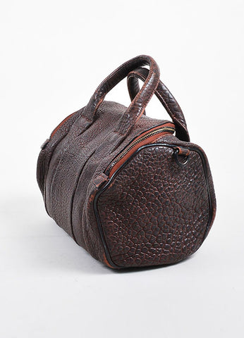 """Raisin"" Maroon Alexander Wang Leather Matte Black Studded ""Rockie"" Duffel Bag Sideview"
