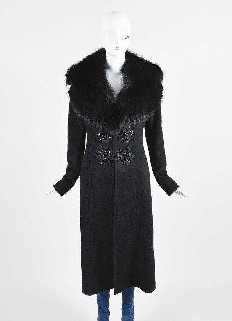 Andrew Gn Black Camel Hair Fur Collar Beaded Embellished Coat Frontview 2