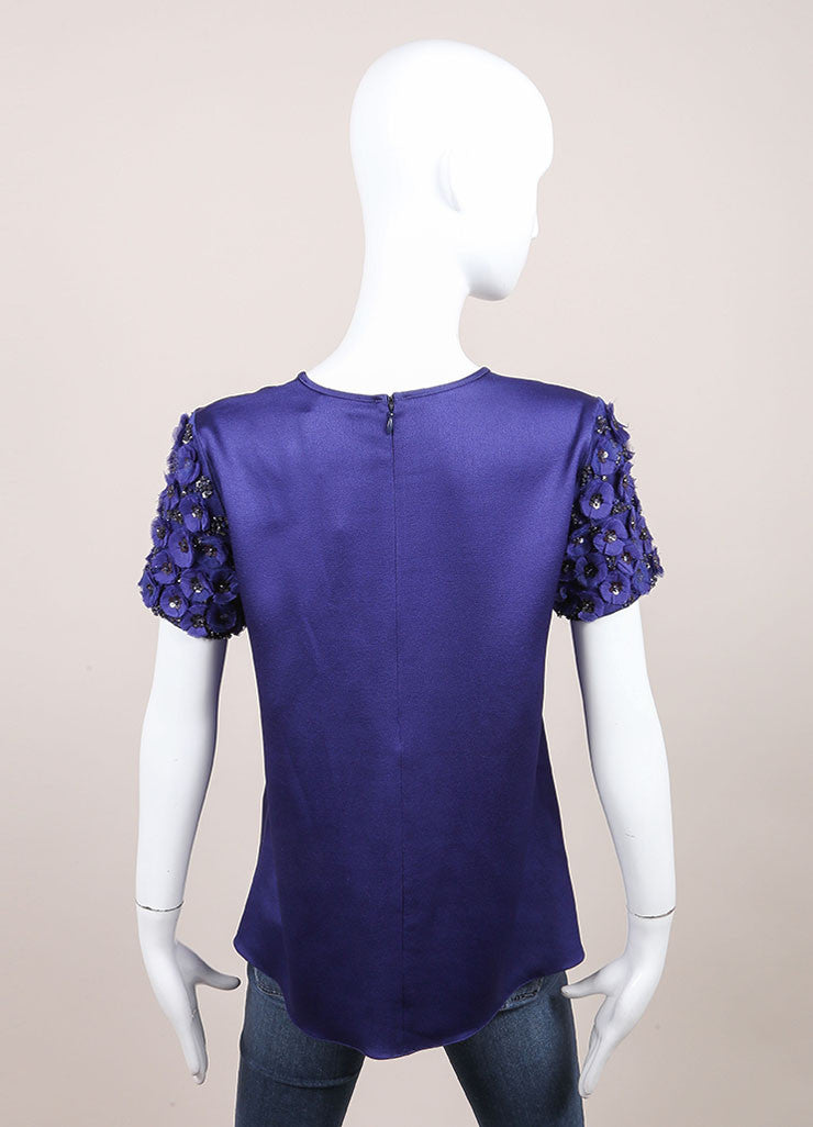 Andrew Gn New With Tags Blue Floral Applique Sequin Embellished Top Backview