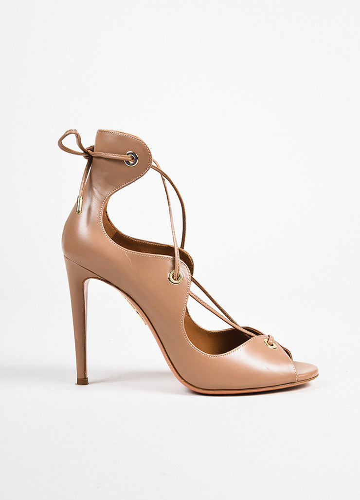 "Aquazzura ""Biscotto"" Taupe Leather Lace Up Peep Toe ""Tango"" Sandals Sideview"
