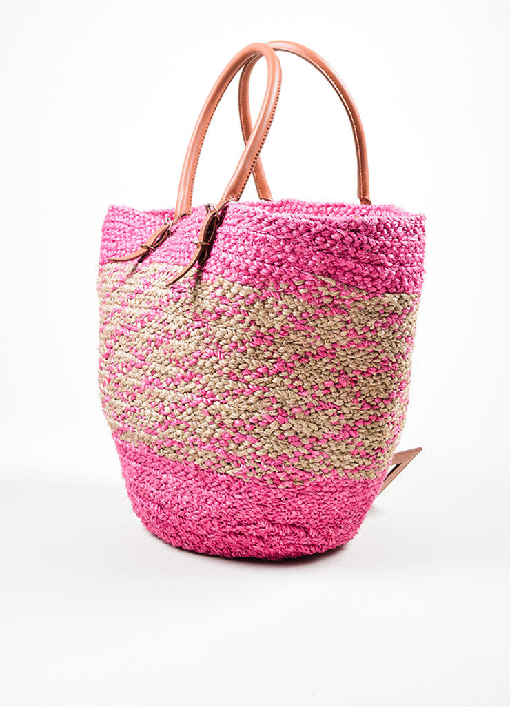 "Balenciaga Pink and Tan Woven Straw Leather Trim ""Panier Basket"" Tote Bag Sideview"