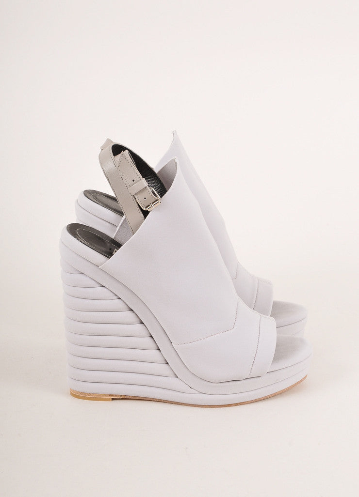 "Balenciaga New In Box Grey Neoprene ""Glove"" Banded Wedges Sideview"