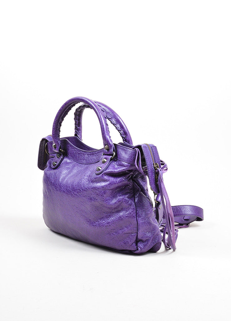 "Purple Balenciaga Leather ""Classic Town"" Moto Bag Back"