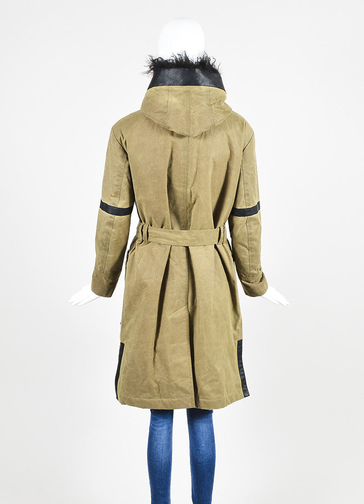 "Green and Black Cotton, Leather, and Fur Belstaff ""Ansel"" Hooded Coat Backview"