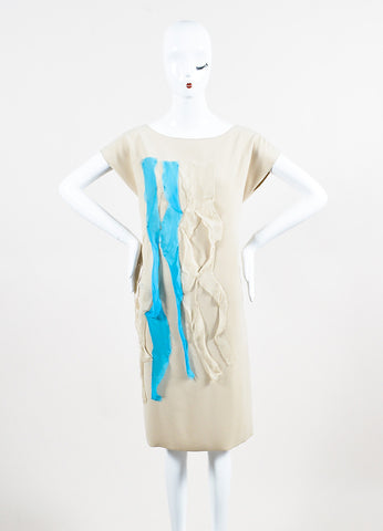 Bottega Veneta Beige and Teal Silk Raw Ribbon Short Sleeve Shift Dress Frontview