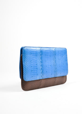 Brown and Blue Bottega Veneta Embossed Leather Frame Envelope Clutch Bag Sideview