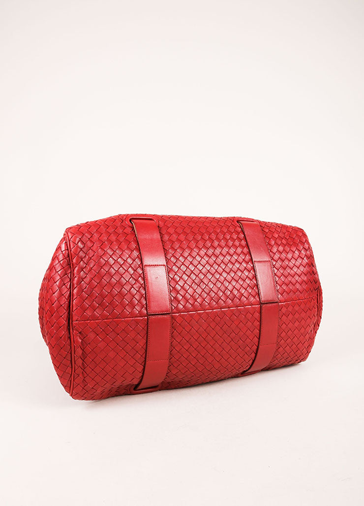 Bottega Veneta Red Leather Intrecciato Duffel Bag Bottom View