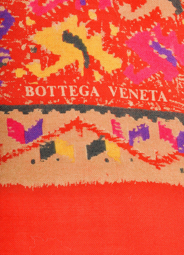 Bottega Veneta Red, Tan, and Multicolor Knit Graphic Print Scarf Brand