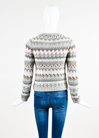Brunello Cucinelli Grey and Cream Cashmere Chunky Knit Fair Isle Sweater Backview