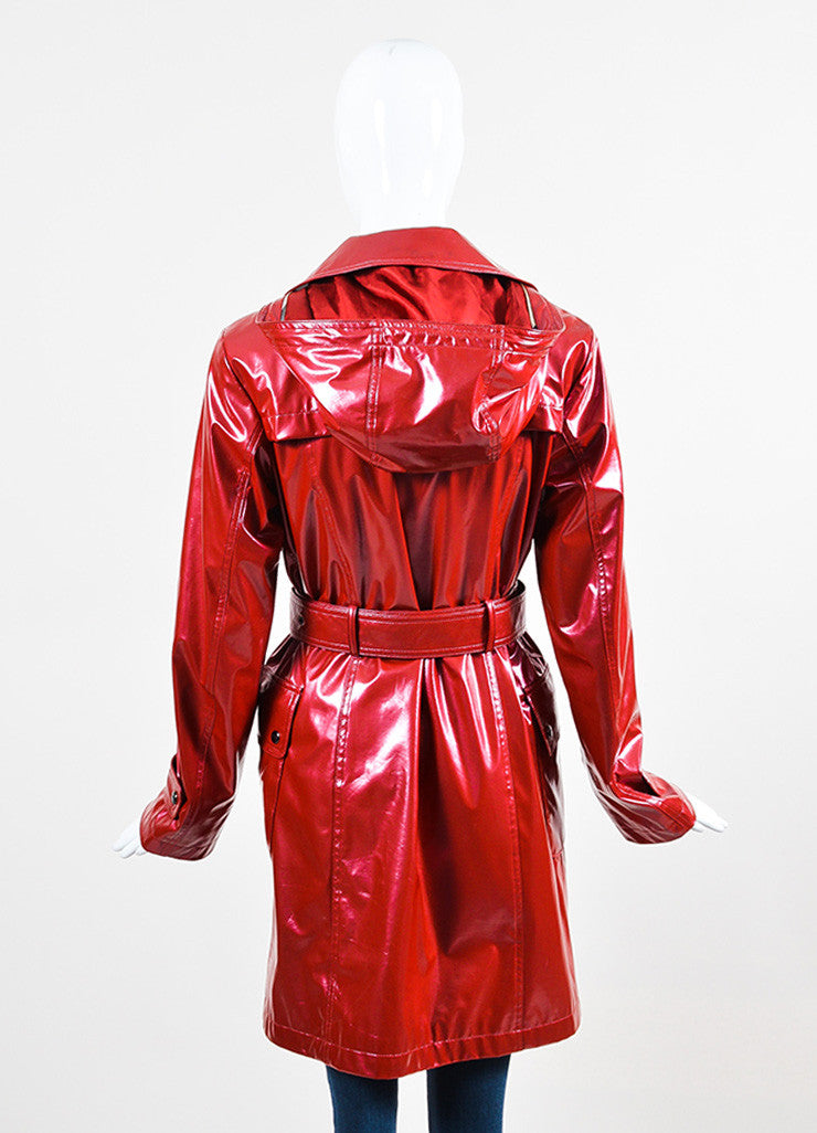 "Burberry London Red Lacquered Belted ""Backworth"" Trench Coat Backview"