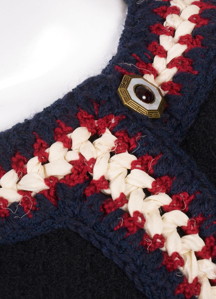 Chanel Black, Navy, Red, and Cream and Wool Textured Woven Button Embellished Jacket Detail