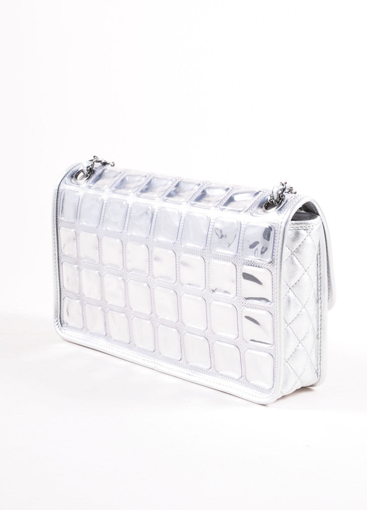 "Chanel Silver Metallic Leather ""Ice Cube"" Classic Flap Shoulder Bag Backview"