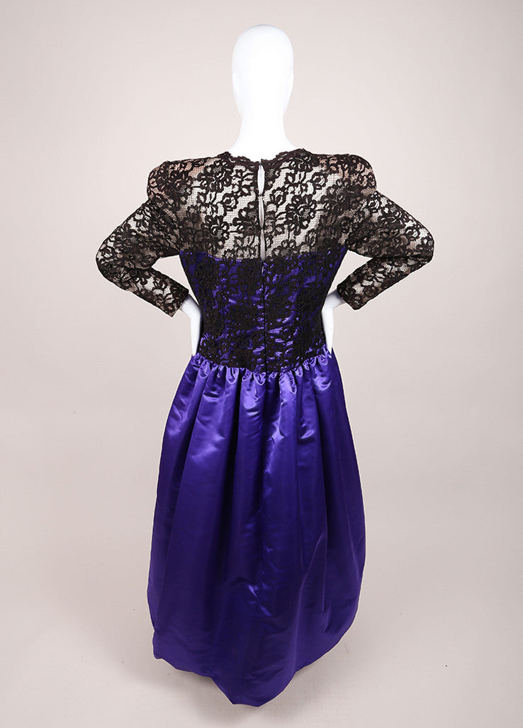 CH by Carolina Herrera Black and Purple Lace and Satin Pleated Long Sleeve Gown Backview