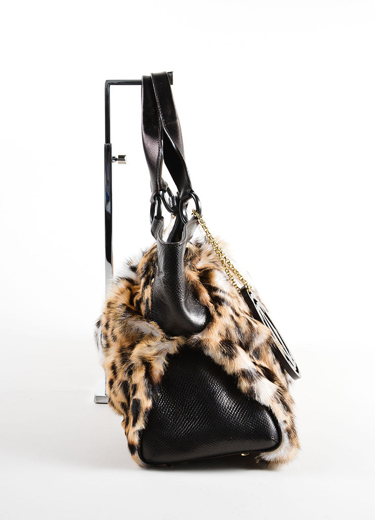 "Cartier Multi-Brown Leopard Print Goat Fur ""Marcello de Cartier"" Bag Sideview"