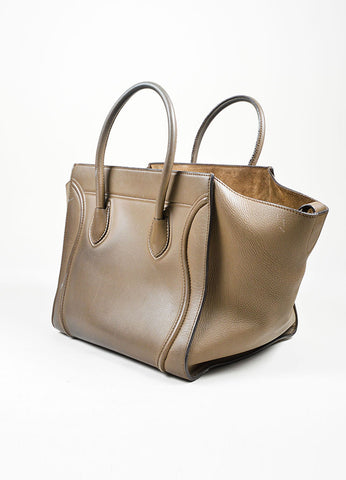 "Olive Green Celine Calfskin Leather Small ""Phantom"" Tote Bag Sideview"