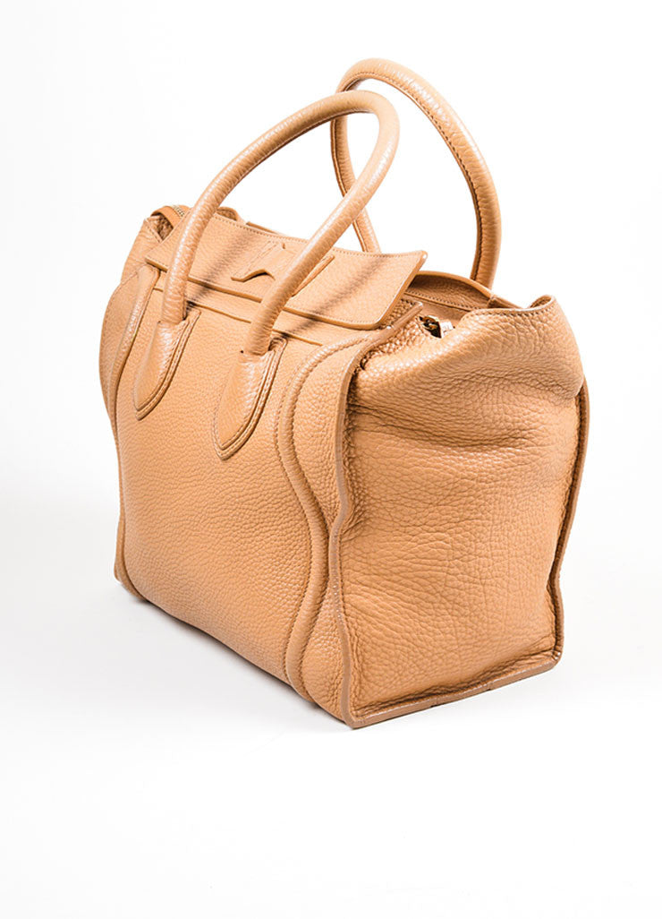 "Taupe Brown Celine Drummed Leather Structured Mini ""Luggage"" Tote Bag Sideview"