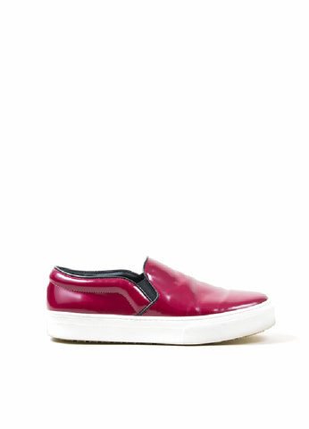 Celine Burgundy Leather Round Toe Slip On Sneaker Shoes Sideview