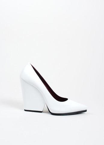 White Celine Leather Pointed Toe Cut Out Wedge Heel Pumps Sideview