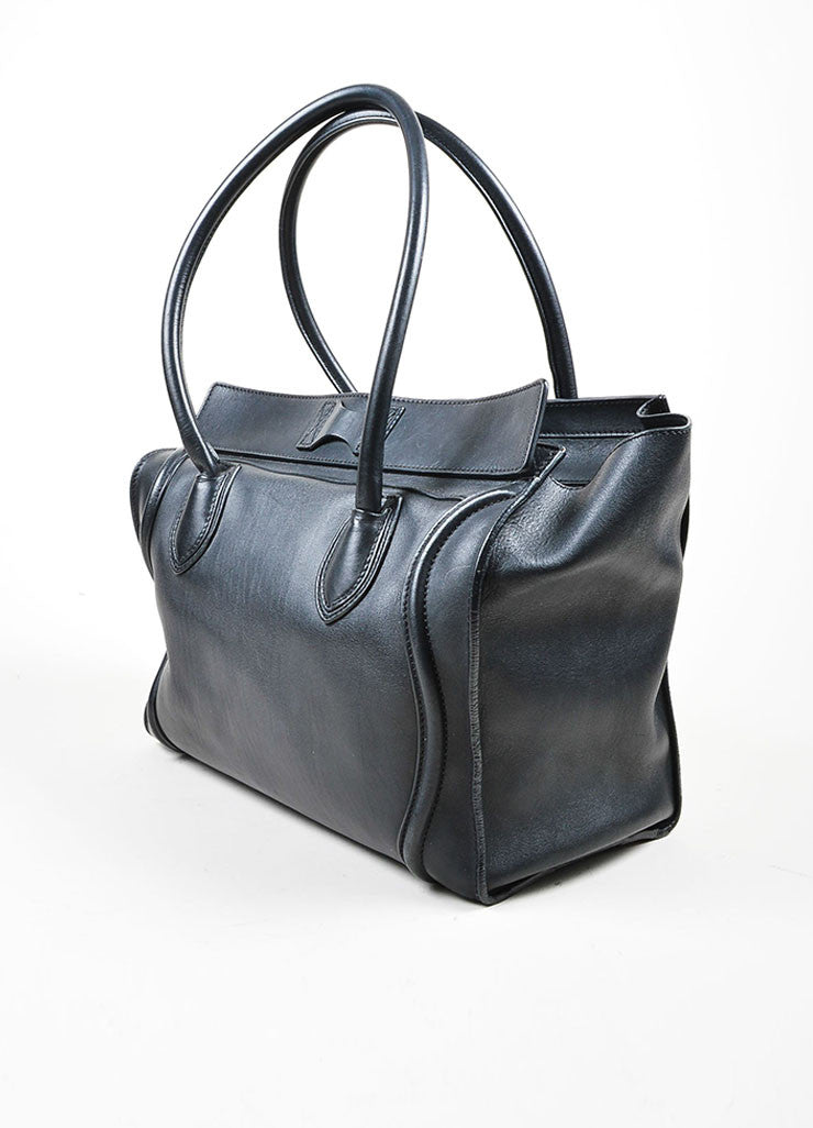 Black Celine Leather Luggage Tote Bag Sideview