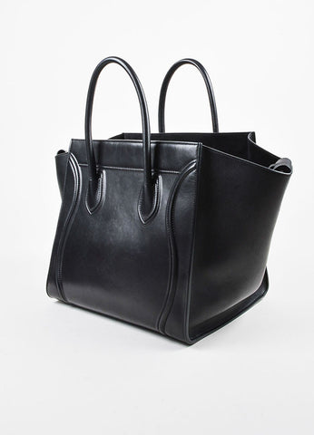 "Black Celine Leather Medium ""Phantom"" Luggate Tote Bag Side"