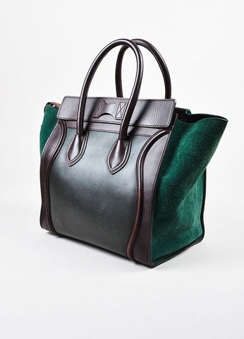"Green and Brown Celine Suede Leather Tricolor ""Mini Luggage Tote"" Bag Side"