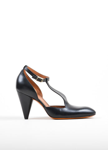 "Black Celine Leather T-Strap ""Mary Jane 90mm"" Mid Heel Pumps Sideview"