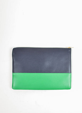 Celine Navy Blue, Green, and Metallic Gold Leather Bi Color Zippered Pouch Clutch Bag Backview
