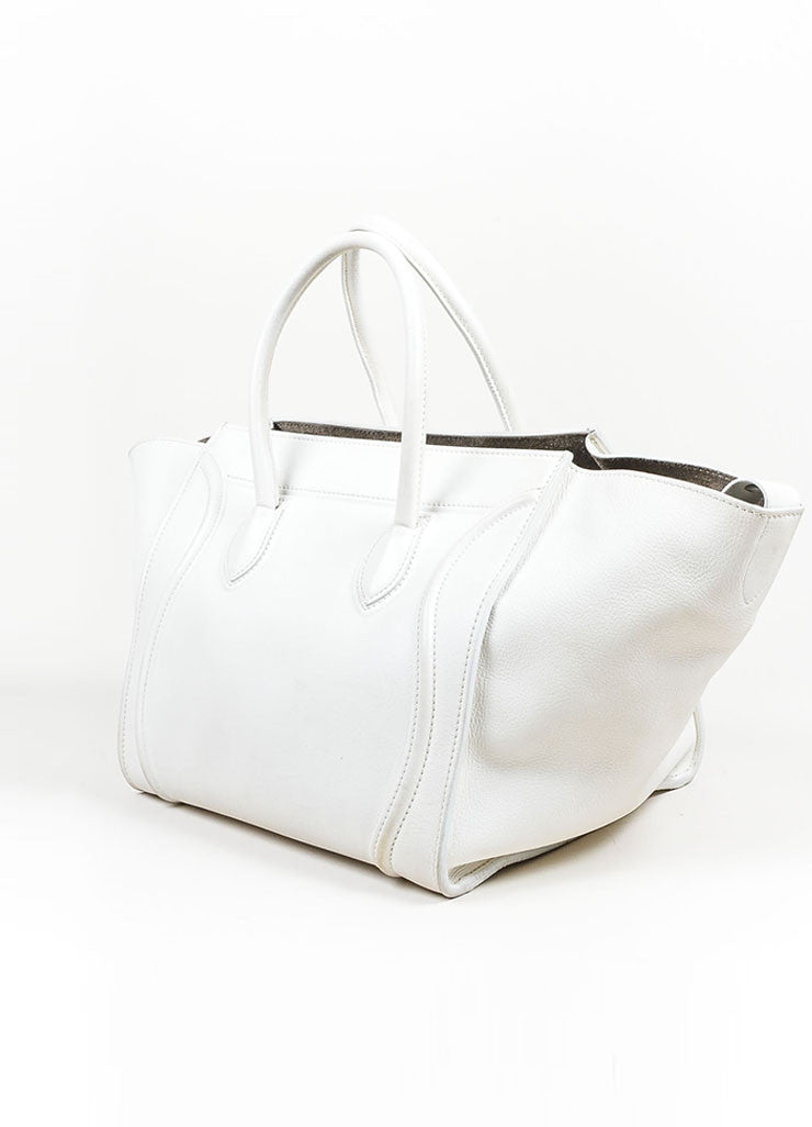 "White Celine Leather Braid Pull ""Small Phantom Luggage"" Tote Sideview"