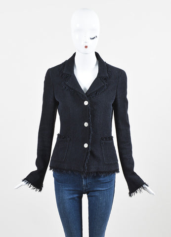 Chanel Black Wool and Silk Tweed Frayed Trim 'CC' Button Blazer Jacket Frontview 2