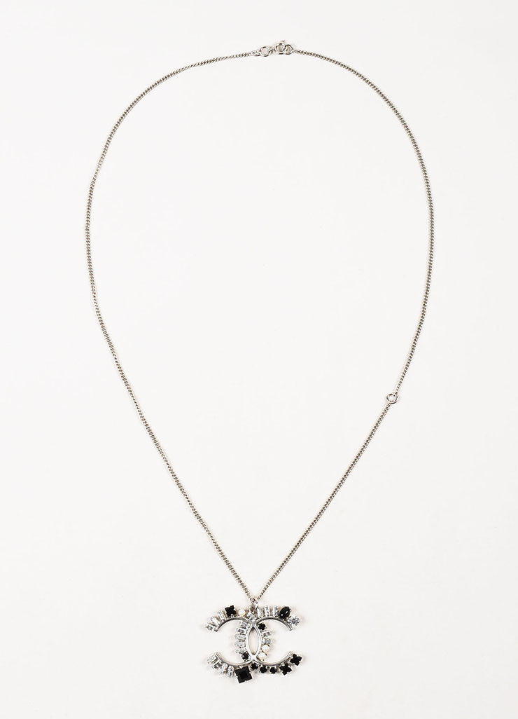 Silver Toned, Black Crystal, and Faux Pearl Chanel 'CC' Logo Pendant Necklace Frontview
