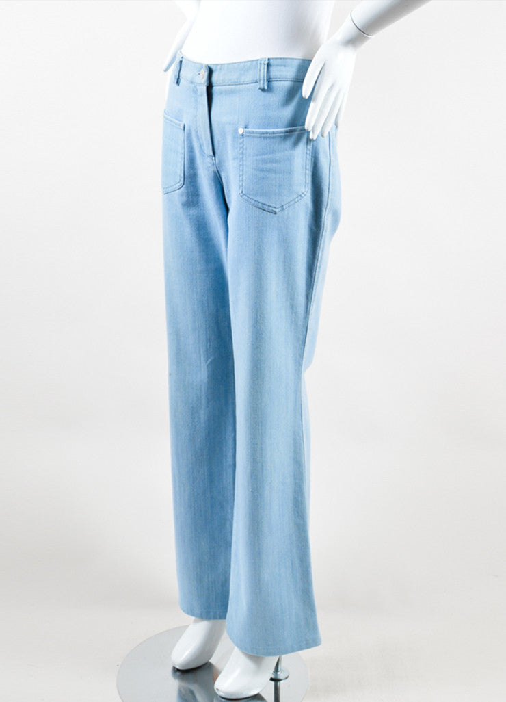 Chanel  Light Blue Wash Denim Pocket Boot Cut Jeans Sideview