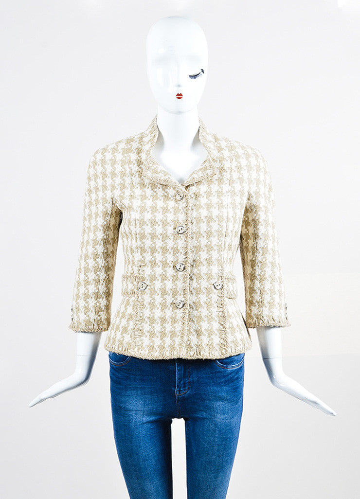Cream and Taupe Chanel Silk Woven Houndstooth Elbow Sleeve Crop Jacket Frontview 2