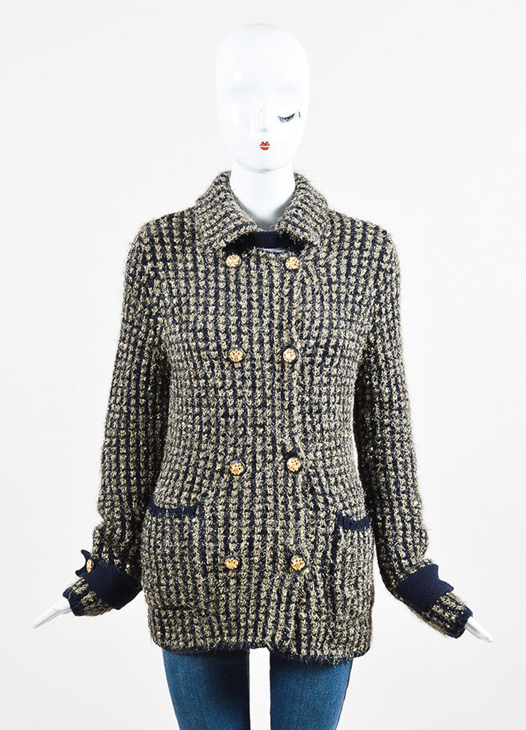 Chanel Gold and Navy Metallic Woven Cashmere Sequin Jacket Frontview 2