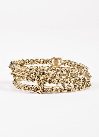 Chanel Gold Toned 'CC' Logo Chain Bangle Bracelet Set Frontview
