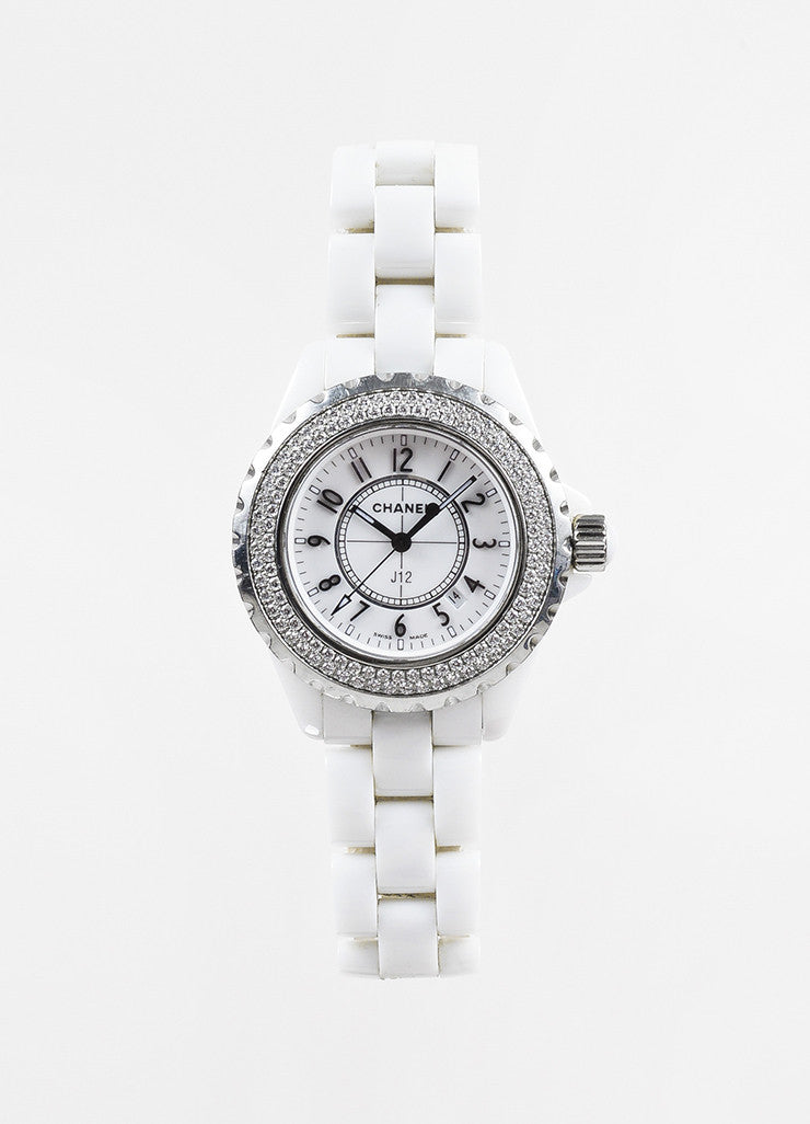 "Chanel White Ceramic Diamond Bezel ""J12"" Quartz Bracelet Watch Frontview"