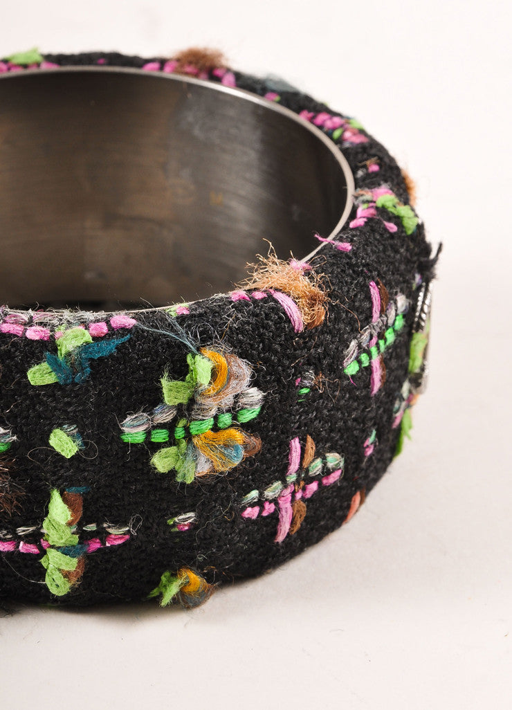 "Chanel Black and Multicolor Neon Tweed ""CC"" Bangle Bracelet Detail"