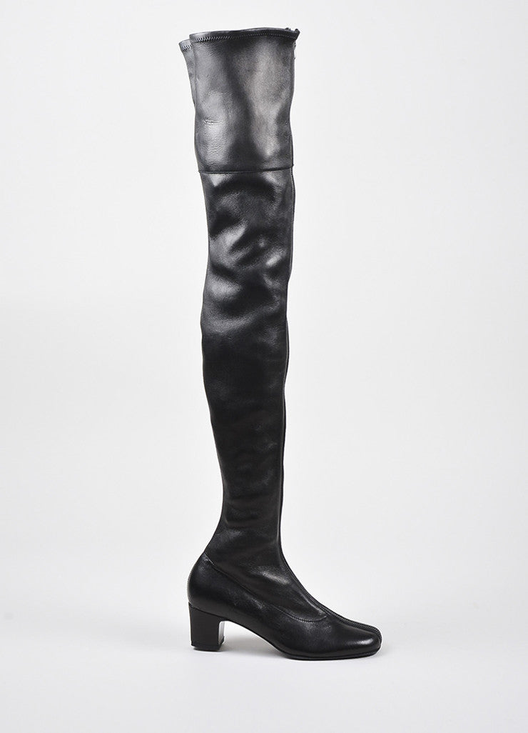 Black Chanel Pre-Fall Sample Leather Thigh High Boots Side