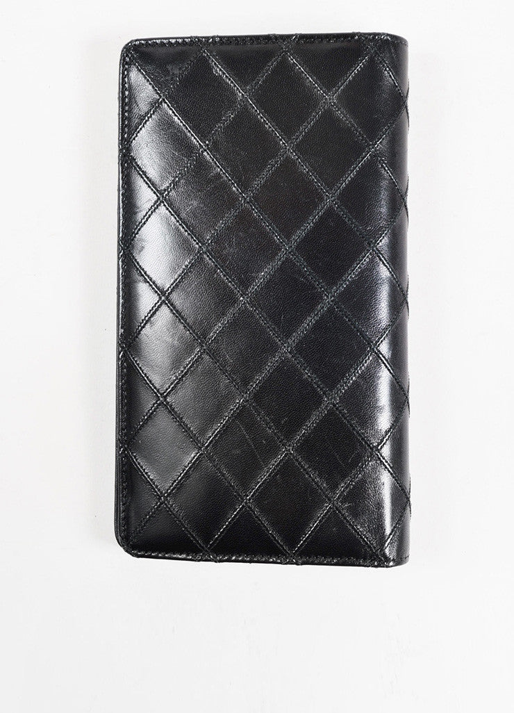 Chanel Black Lambskin Leather Quilted 'CC' Detail Coat Breast Pocket Wallet Backview