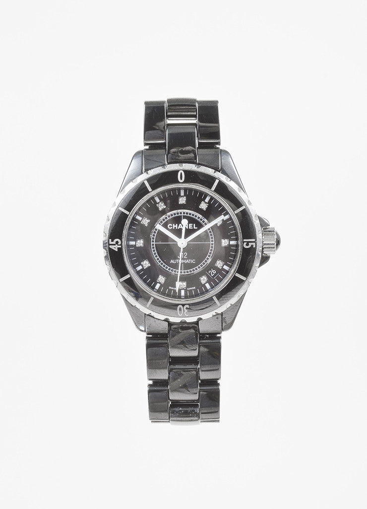 "Chanel Black Ceramic Steel Diamond Accent ""J12"" Automatic Watch Frontview"