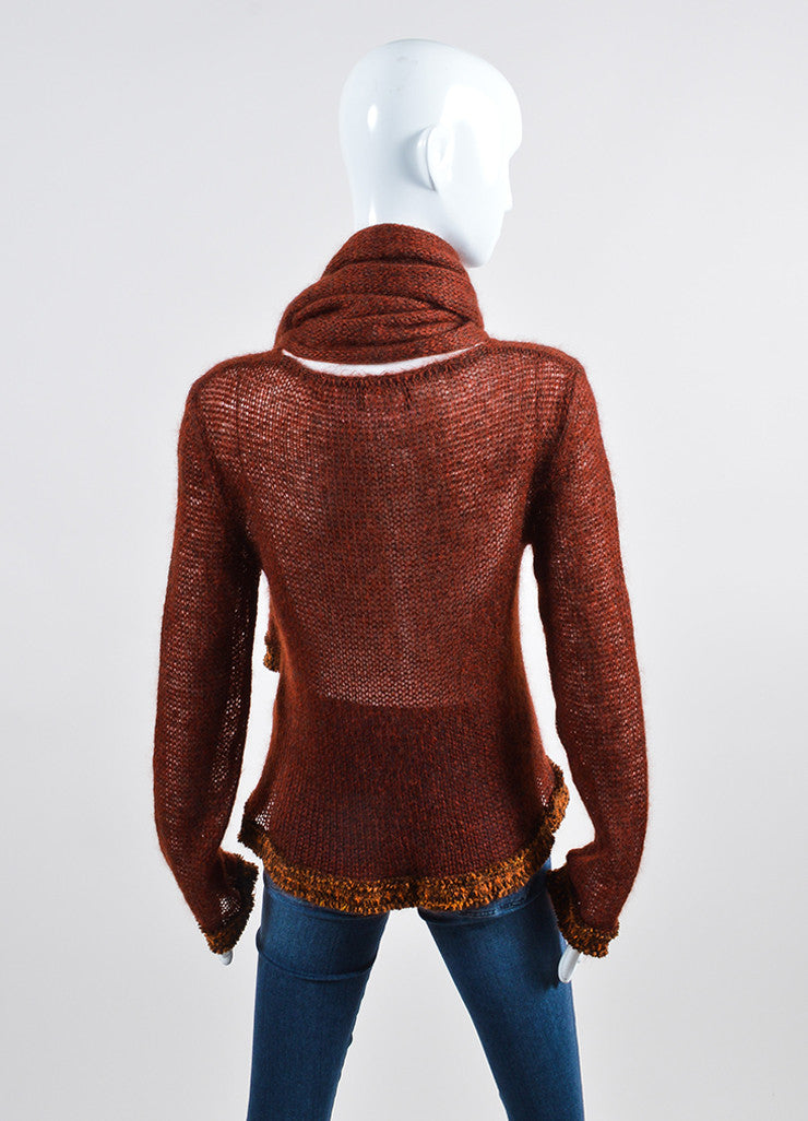Dark Red and Brown Chanel Woolen Knit Fringe Trim Sweater Backview