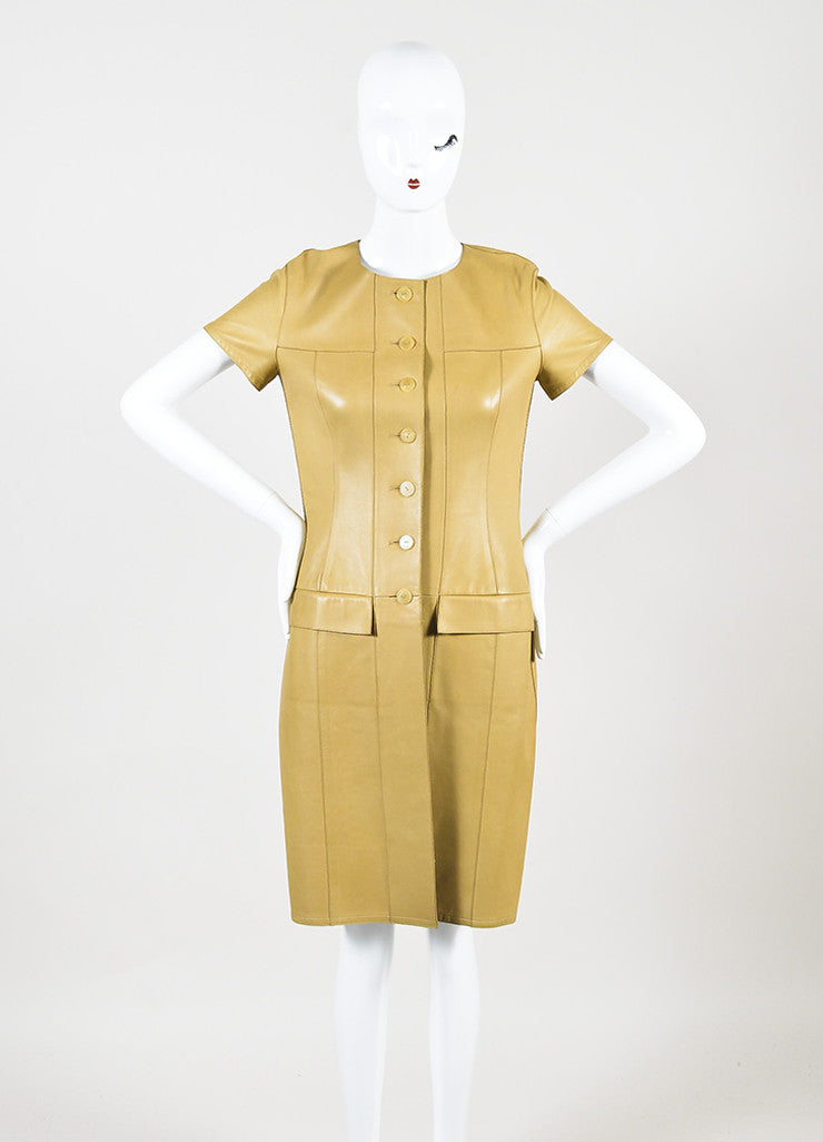 Chanel Tan Lambskin Leather Short Sleeve Button Up Shirt Dress Frontview