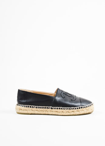 Chanel Black and Beige Leather Raffia Cap Toe 'CC' Logo Slip On Espadrilles Sideview